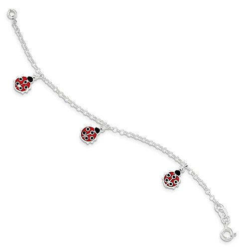 Sterling Silver Polished Children's Enameled Ladybug Bracelet 6 Inches - Enameled Ladybug Polished