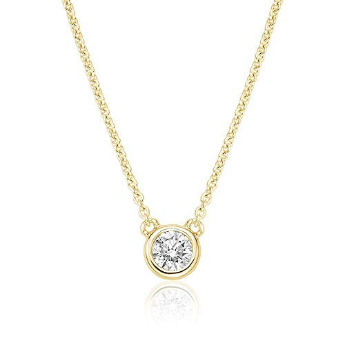 Jewels By Erika N-10BZ15 10K Gold Bezel Set Diamond Solitaire Necklace (Yellow-Gold)