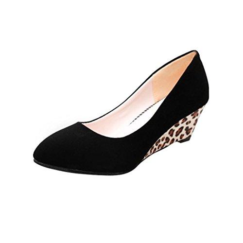 DENER Women Ladies Wedge Pumps,Leopard Print Flock Pointed Toe Wide Width Comfortable Business Work Casual Shoes (Black, 40)