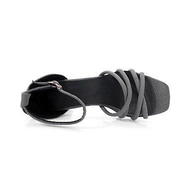 LvYuan Mujer Sandalias Confort Tira en el Tobillo Semicuero Verano Casual Vestido Confort Tira en el Tobillo Hebilla Tacón RobustoNegro Gris Black