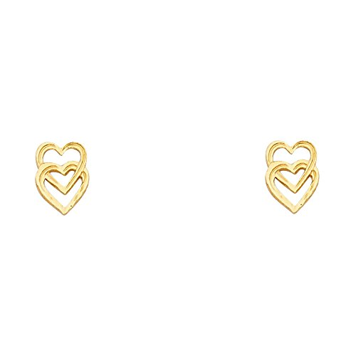 - 14K Solid Yellow Gold Entwined Hearts Earring with Push Back
