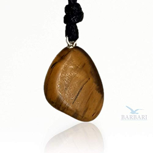 BARBARI Jewelry Raw Tiger Eye Healing Crystal Necklace | Handmade Gift for Him and Her+ Free Gift! High Quality Natural Rock Gemstone Pendant for Men and Women ()