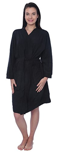 Beverly Rock Womens 100% Cotton Plus Size Robe Terry Knitted Cloth Bathrobe BRK Black 1X