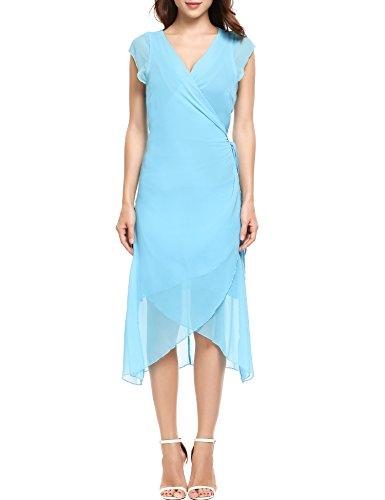 Women V-Neck Cap Sleeve Casual Front Bandage Asymmetrical Hem Chiffon Dress