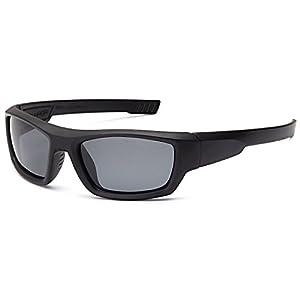 Naga Sports Youth Teenager UV400 Polarized Sunglasses for Baseball, Softball, Running, Fishing, Biking - Kids Ages 6-14 (POLARIZED Grey Lens Black Frame)