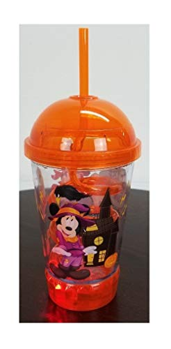 Scare Up Some Fun! Halloween Mickey Light-Up Flashing Dometop Tumbler Cup With Spiral Straw