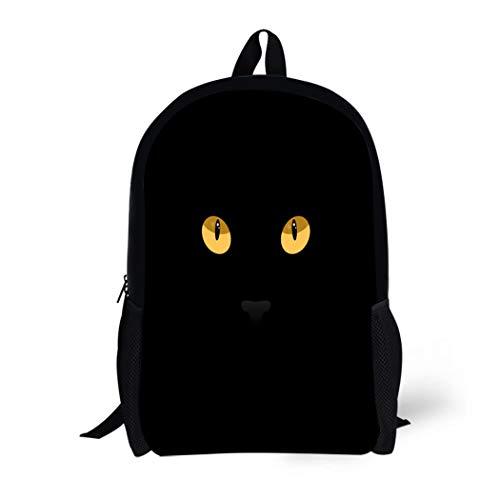 Pinbeam Backpack Travel Daypack Orange Halloween Cat Eyes on Yellow Black Abstract Waterproof School Bag
