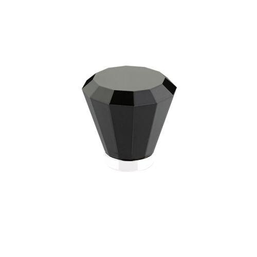 Emtek 86548 Brookmont Series 1-5/8 Inch Diameter Black Crystal Designer Cabinet, Polished Nickel by Emtek