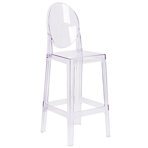 Flash Furniture Ghost Barstool with Oval Back in Transparent Crystal - Oval Back Bar Stool