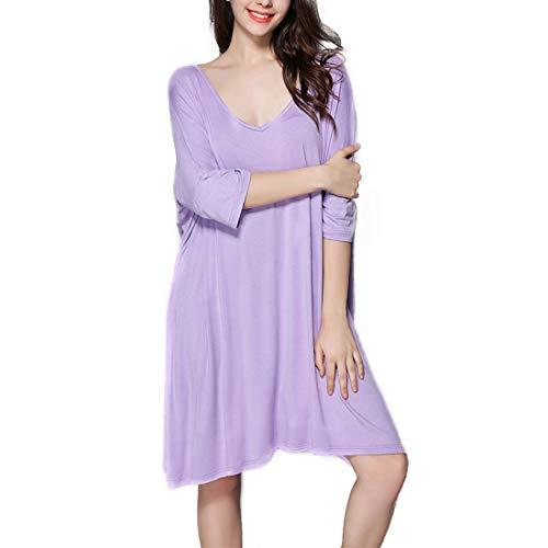 Camicia pigiameria Allentato T L Purple a scollo Abito Color Amabubblezing Size da Gray allattamento Size shirt Plus Allattamento seno donna V al notte Zqwfg1vcpg