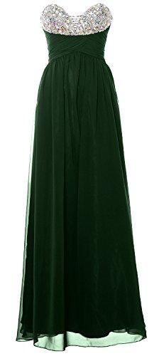 MACloth Women Strapless Long Prom Dress Classic Chiffon Formal Evening Gown Verde Oscuro
