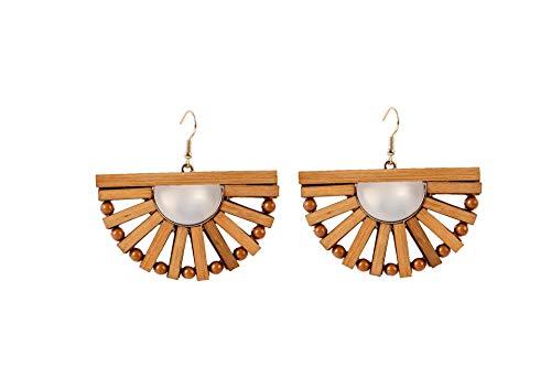 Tiande Fashion Wood Dangle Earrings Fan-Shaped Bamboo Needle Earrings Bohemian Personality Jewelry for Women Girls Mother's Day Gift - 2