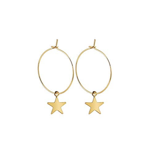 - Fashion Earrings Popular Fashion Personality Simple Pentagram Ear Ring Accessories for women,gold