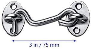 Longsing Gancho de Cabina Pestillos para Puertas Gancho Gancho y Gancho de Acero para Cabina de Servicio Pesado para Cobertizo,Puerta o Puerta de Garaje 75 mm, 100 mm, 150 mm