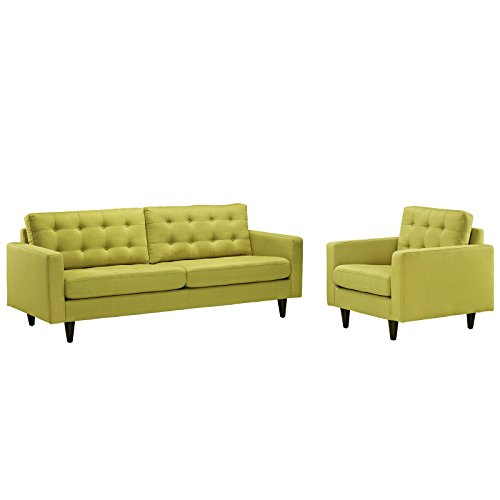 Modway EEI-1313-WHE Empress Mid-Century Modern Upholstered Fabric Sofa and Armchair Set Wheatgrass