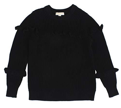 - Michael Michael Kors Womens Ruffled Heavy Crewneck Sweater Black L