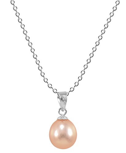 (Paialco Cultured Pink Teardrop Freshwater Pearl Sterling Silver Pendant Necklace)