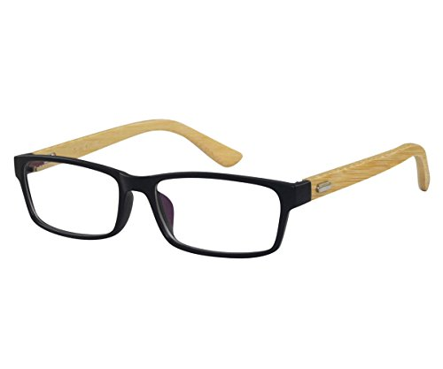 EyeBuyExpress Reading RX Women Mex Rectangular Black Frame Natural Bamboo Temples Fancy +1.50 by EyeBuyExpress