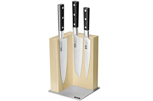 Fissler 4-piece Kitchen Knife Set with Magnetic Block and Japanese Knives by Fissler