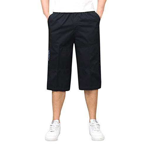(Shorts for Men 7 Inch Inseam,Dainzuy Stylish Casual Fashion Multi-Zip Multi-Pocket Built-in Corded Cargo Short Pants Black )