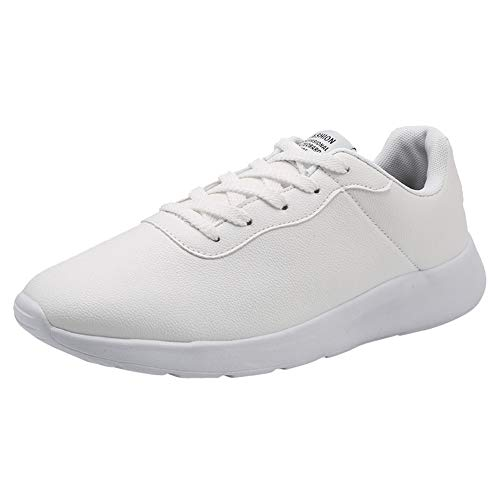 HOSOME Men Running Sports Shoes Outdoor Leather Casual Lace-Up Comfortable Soles Shoes White ()