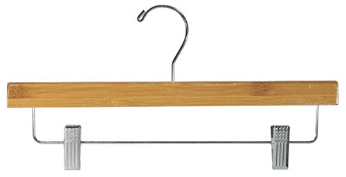 Pant Skirt Dark Bamboo Bottom 14'' Hanger W/ Clips Retail Shop Display Fixture Lot of 100 New by Bentley's Display