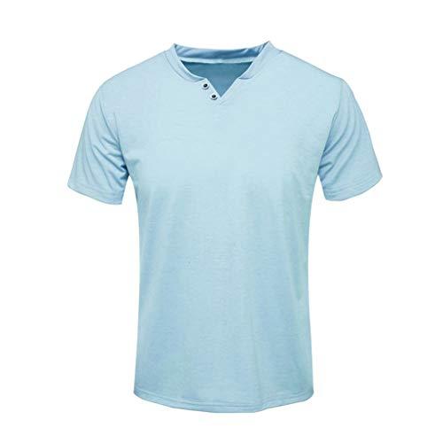 (✦◆HebeTop✦◆ Men's Premium Lightweight Ringspun Cotton Short Sleeve T-Shirt Blue)