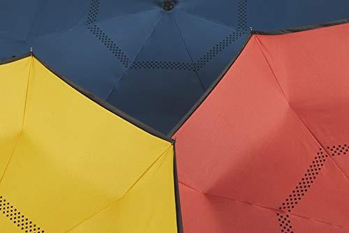 EZPELETA Paraguas inverso Reversible. Antiviento y Manual con puño Forma C. Tejido Doble Capa - Azul: Amazon.es: Equipaje