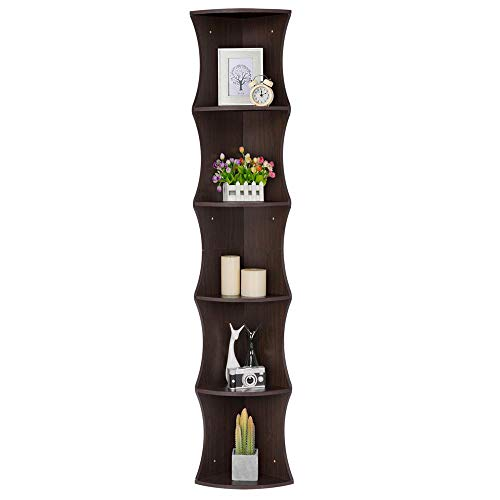 - Yaheetech 5 Tier Brown Round Wall Corner Shelf Stand Storage Skinny Display Bookshelf Rack Casual Home Office Furniture