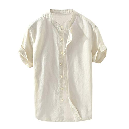 TIFENNY Men's Baggy Cotton Linen Shirt Summer Solid Short Sleeve Button Retro T Shirts Tops Blouse Khaki