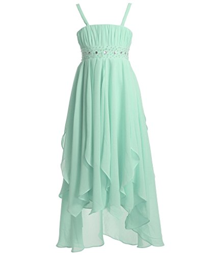 FAIRY COUPLE Girl's A-line Asymmetric Ruffles High Low Flower Girl Dress K0150 6 Mint (Green Fairy Dress)