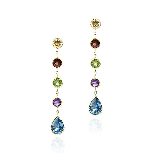 14k Yellow Gold Gemstone Earrings with Round and Pear Shaped Stations
