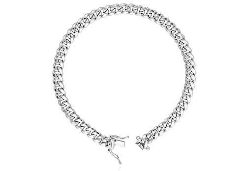 - Sterling Silver Italian Solid Miami Cuban Link Chain Bracelet for Men 8.5MM 10.5MM- 925 Sterling Silver Curb Cuban Bracelet For Men, Silver Cuban Link Chain, Mens Silver Bracelet (9, 7MM)