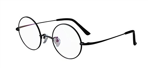 Agstum Pure Titanium Retro Round Prescription Eyeglasses Frame 44-24-140 (Black, - Prescription Glasses Harry Potter