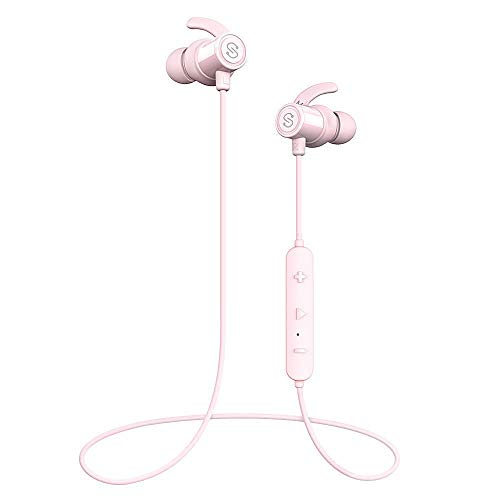 SoundPEATS Bluetooth Earphones, Wireless 4.1 Magnetic Earphones, in-Ear IPX6 Sweatproof Headphones with Mic (Superior Sound with Upgraded Drivers, APTX, 8 Hours Working Time, Secure Fit Design)-Pink