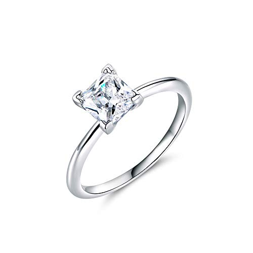 - Natasa 2 Carat Princess Cut CZ Square Cubic Zirconia Sterling Silver Promise Anniversary Ring(Size 7)