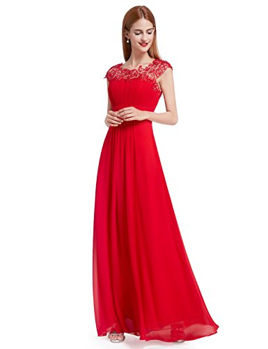 Ever-Pretty Womens Lace Open Back Floor Length Evening Dress 12 US Red