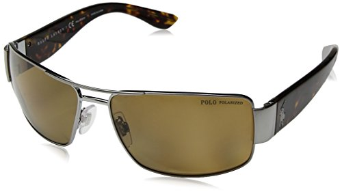 Polo Ralph Lauren Men's Metal Man Polarized Rectangular Sunglasses, Gunmetal, 64 mm (Polo Sunglasses Ralph Lauren)