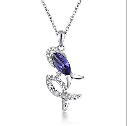 NEW Women Purple Crystal Rhinestone Cute Fish Silver Chain Pendant Necklace пјЃпјЃпјЃ
