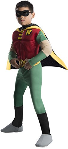 [Rubies DC Comics Teen Titans Deluxe Muscle Chest Robin Costume, Medium] (Kids Batman And Robin Costumes)