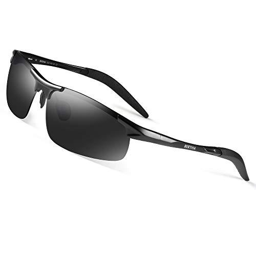 Bertha Mens HOT Fashion Driving Polarized Sunglasses for Men Al-Mg Metal Frame Ultra Light Golf Fishing Sports Sunglasses (Black)
