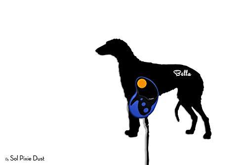 (Scottish Deerhound - Custom Name Dog Leash Holder - Wall Hook)