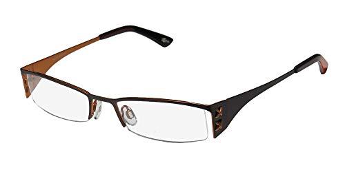 Continental Metalic Temples Trendy Eyewear X-Eyes 060 Mens/Womens Designer Half-rim Eyeglasses/Glasses (50-18-135, Chocolate/Copper)