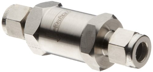 Parker F Series Stainless Steel 316 Instrumentation Filter, Inline, 5 Micron, 1'' A-Lok Compression Fitting by Parker