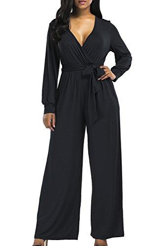 インタネットを見るスイッチドライ作業のための女性の長い袖の深いv -首ジャンプスーツワイドパンツ