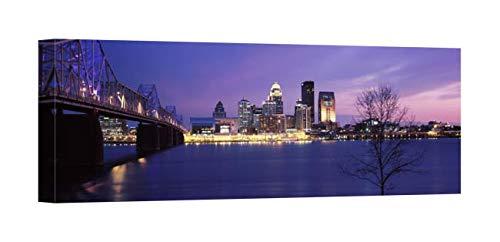 Easy Art Prints Panoramic Images's 'George Rogers Clark Memorial Bridge, Ohio River, Louisville, Kentucky' Canvas Art 36 x 12