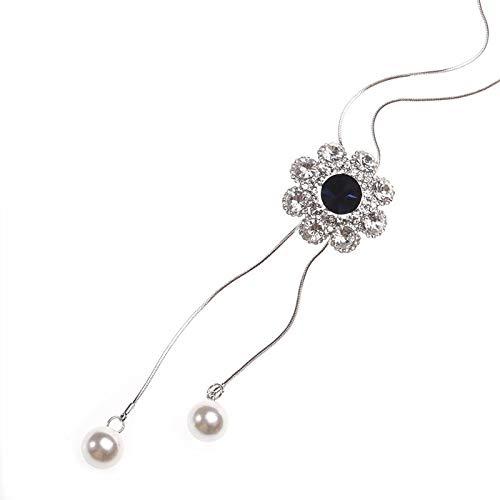 Davitu Crystal Flower Simulated Pear Tassel Long Necklace Women Fashion Jewelry Sweater Necklaces /& Pendants Dress Accessories Davitu