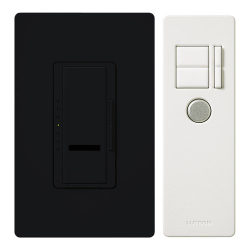 Coordinating Remote Dimmer - Lutron MIR-600THW-BL Maestro IR 600W Single-Pole Incandescent Dimmer with Remote Control, Wall plate Included, Black
