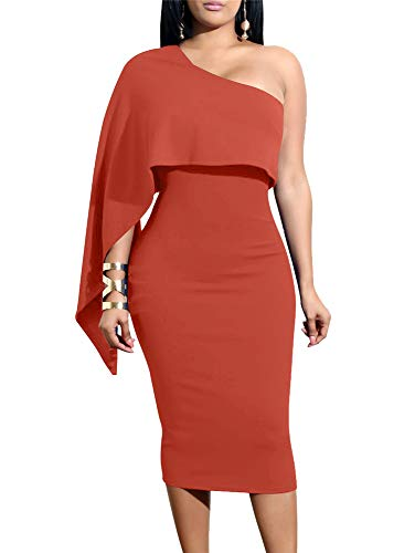 (GOBLES Women's Summer Sexy One Shoulder Ruffle Bodycon Midi Cocktail Dress Orange)