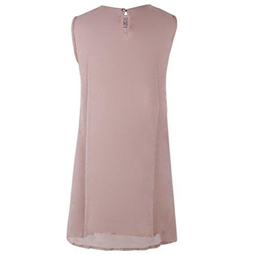 Vestido Dragon868 O de Las sin Gasa costura verano cuello de de casual vestido mujer mangas niñas de Rosa para encaje mujeres mini rxf4rqI
